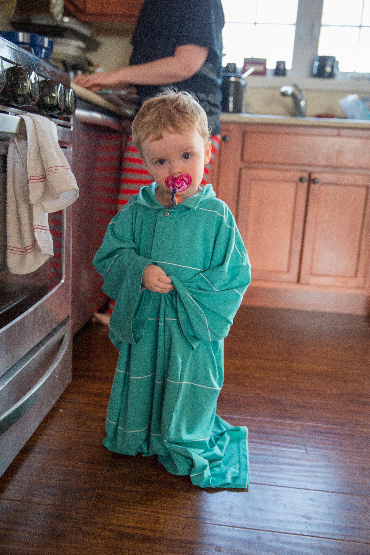 Dad's shirts make great robes...